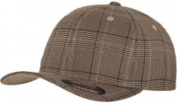 Flexfit Glen Check Brown Khaki Wooly Combed Stretchable Fitted Cap Basecap