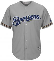 Majestic Athletic Milwaukee Brewers Cool Base MLB Replica Jersey Grey Baseball Trikot Tee T-Shirt