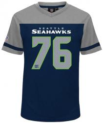 Majestic Athletic Seattle Seahawks NFL Polyester V-Neck T-Shirt Tee Jersey LARGE