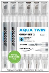 Molotow Aqua Twin Grey Set 2 6 Colours Kit Marker Water Based Aquarell Set Box