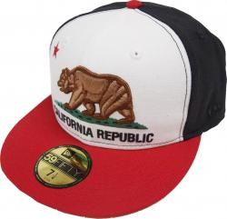 New Era California Edition Cali Republic White Black Red Cap 59fifty Fitted Mens