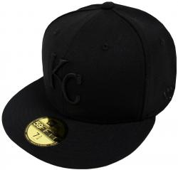 New Era Kansas City Royals Black On Black 59fifty Fitted Cap Limited Edition