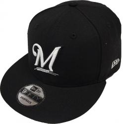New Era Milwaukee Brewers Black White Logo Snapback Cap 9fifty Limited Edition