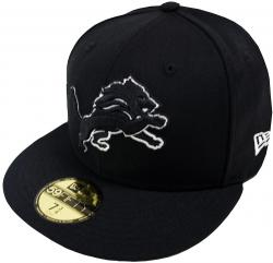 New Era NFL Detroit Lions Black White 59fifty Fitted Cap Basecap Limited Edition