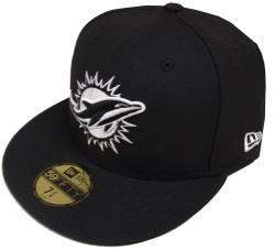 New Era NFL Miami Dolphins Black White 59fifty Fitted Cap Limited Edition
