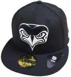 New Era Seattle Seahawks Alternative Logo Black White NFL Cap 59fifty 5950 Fitted Basecap Kappe Men Special Limited Edition