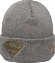 New Era Superman Character Knit Grey Gold Youth Beanie Beany Wool Hat Jugendliche