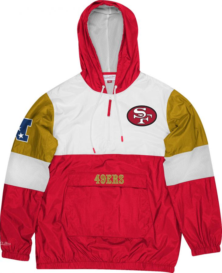 Mitchell /& Ness San Francisco 49ers Surprise Win Windbreaker Scarlet Half Zip Jacket Jacke Anorak