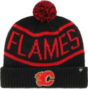 47 Brand Calgary Flames Calgary Cuff Knit With Pom Black Beany Hat One Size Mütze Forty Seven