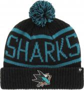 47 Brand San Jose Sharks Calgary Cuff Knit With Pom Black Beany Hat One Size Mütze Forty Seven