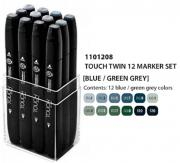 ShinHanart Touch Twin Marker Blue Green Grey 12er Set Grafikmarker Box Design